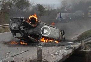 Video: choque, vuelco y fuego en Esperanza