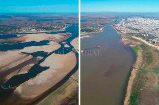 Asombroso contraste del paisaje de la Laguna Setúbal por la bajante histórica del río Paraná Antes y después