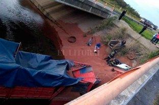 Un camión cayó a un arroyo en la autopista Santa Fe - Rosario Altura Sauce Viejo
