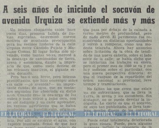 El socavón de Urquiza, un problema de larga data