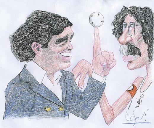 Así pintó a Maradona nuestro dibujante en la Redacción