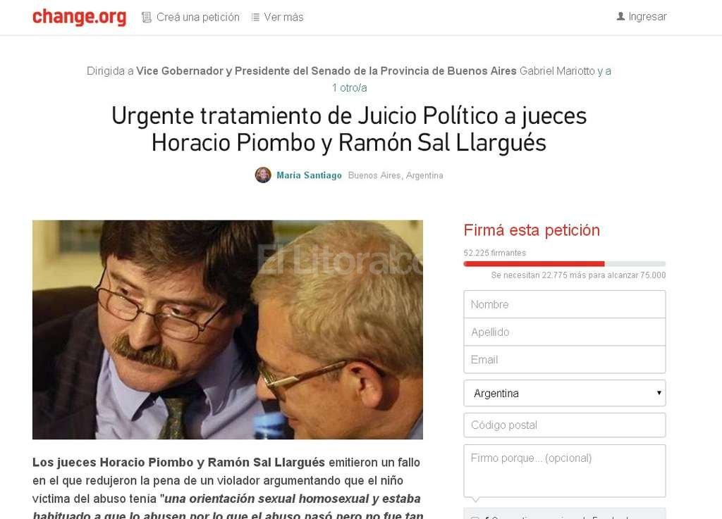 La página donde se juntan las firmas <strong>Foto:</strong> Captura de pantalla