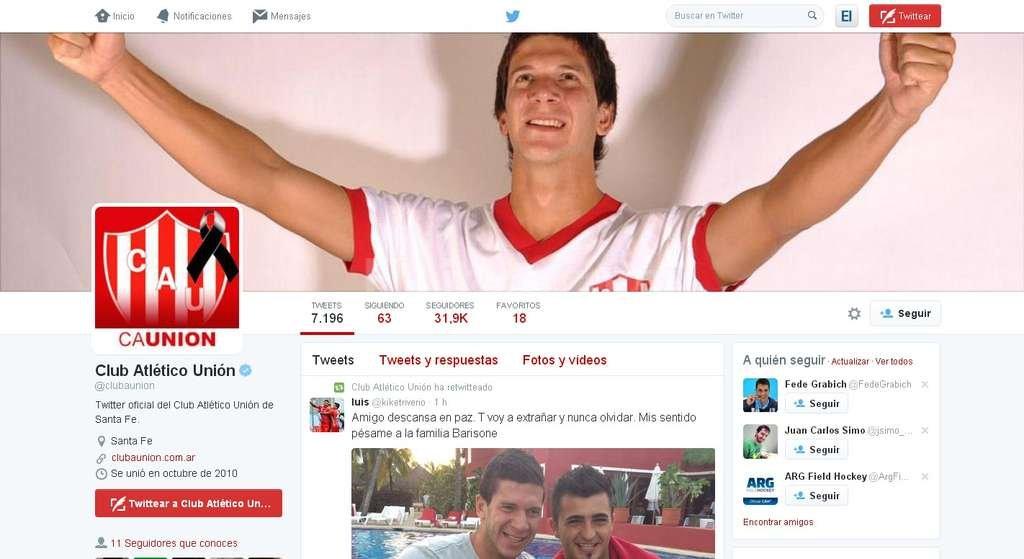 Uni�n homenajea a Barisone por las redes sociales
