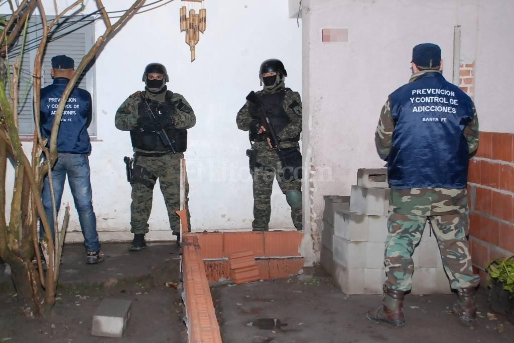 La droga fue hallada en una casa de Florentino Ameghino al 1300 en el barrio Cooperativo. Prensa Ministerio de Seguridad