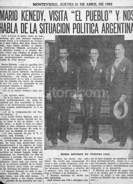 Mario, uno de los hermanos Kennedy, en las p�ginas de un diario de Montevideo en 1932, algunos meses despu�s de haber tomado la comisar�a de La Paz. Foto:Archivo