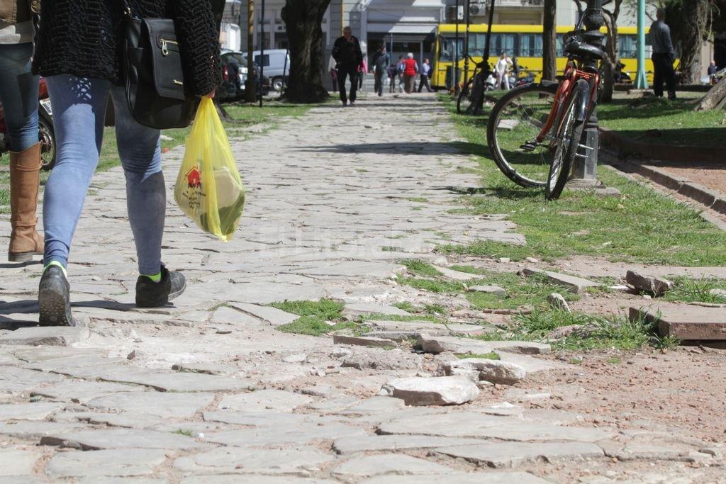 Veredas. La rotura de las lajas en las veredas de la plaza es un riesgo para los paseantes. Foto:Guillermo Di Salvatore