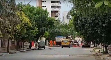Caos de tr�nsito en Suipacha y 4 de Enero por reparaci�n de calle 1� de Mayo