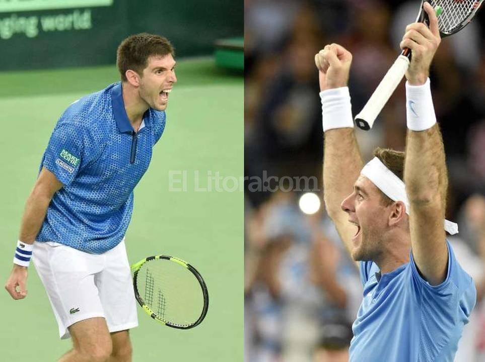 Dos  tenistas de oro. La alegría del triunfo. Agencia DyN
