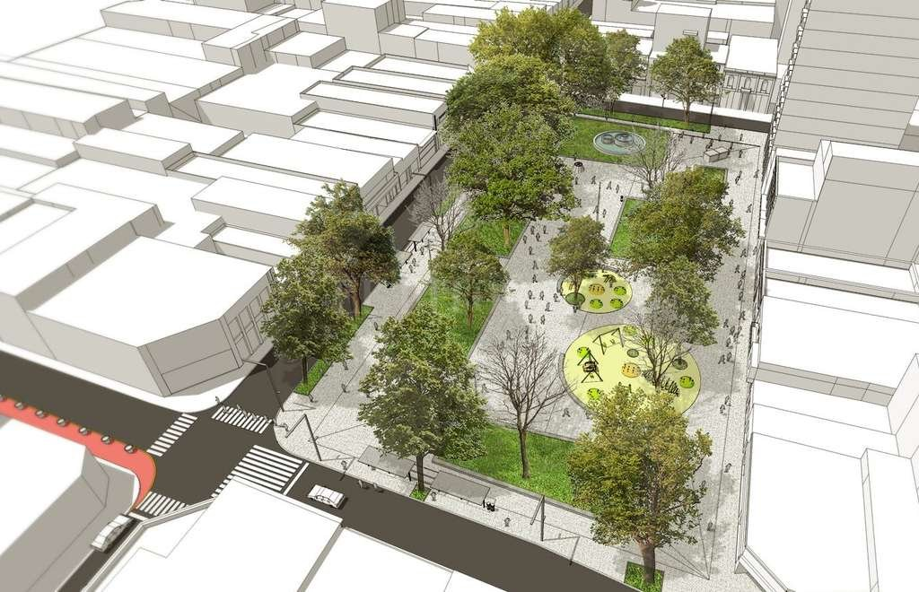 Proyectan restaurar la Plaza del Soldado - Vista. La maqueta utilizada durante la prestación del proyecto, esta mañana en el Centro Comercial, muestra detalles de la intervención. -