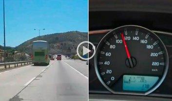 Tras la tragedia, filman un colectivo de la empresa TurBus viajando a mas de 100 km/h