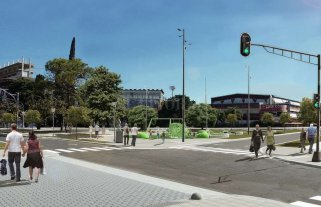 Cómo será la obra que transformará la zona de la rotonda frente a Unión - Maqueta elaborada por la Municipalidad, que muestra cómo quedará el espacio remodelado.