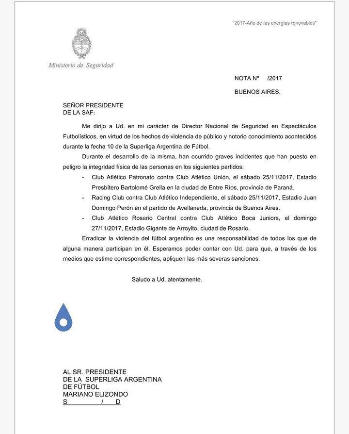 Ministerio de Seguridad pide sanciones para tres clubes