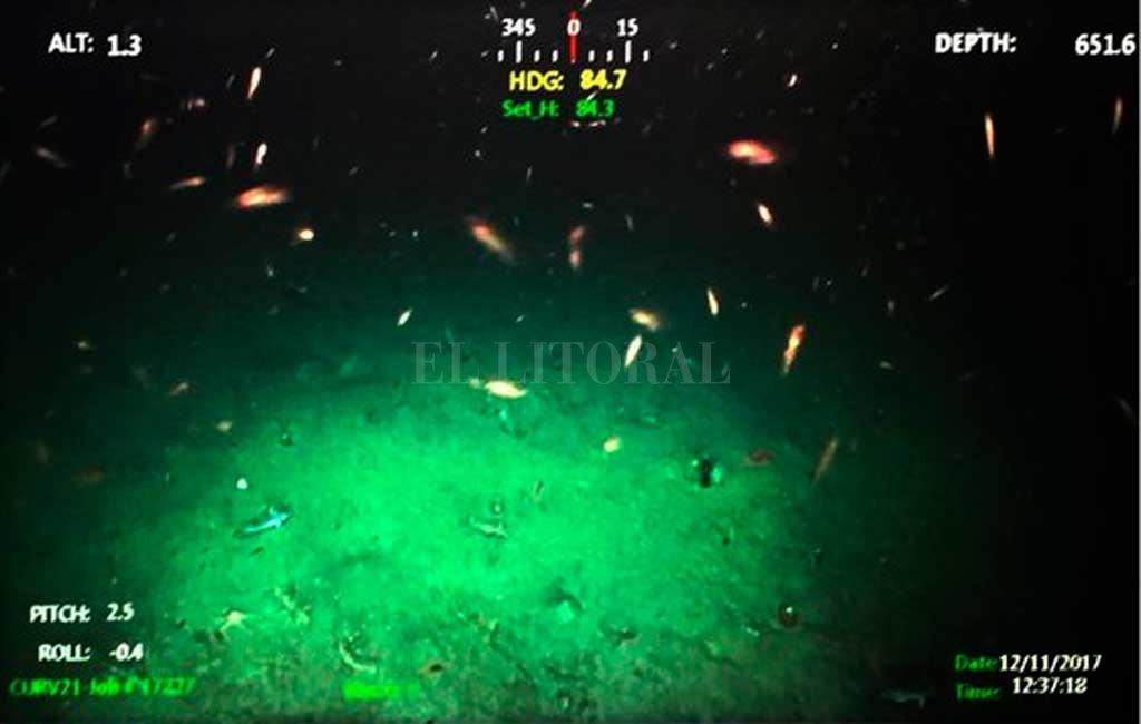 Una de las imágenes del operativo de búsqueda a 650 metros de profundidad Crédito: Armada Argentina