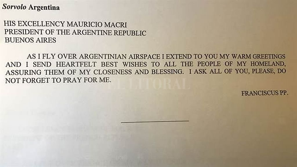 Mensaje enviado por Francisco a Macri. Crédito: Captura digital
