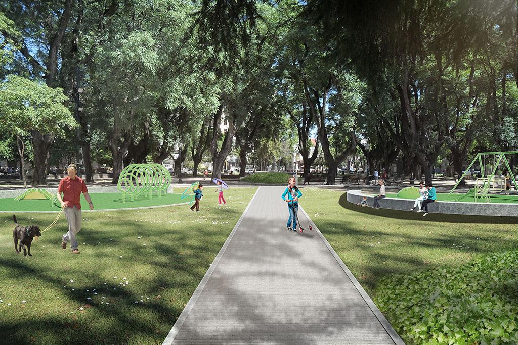 Así quedará la 'nueva' plaza que contempla los espacios verdes y al peatón, porque hay una clara prevalencia del uso peatonal por sobre el vehicular, en todo el criterio de la intervención. <strong>Foto:</strong> Gentileza.