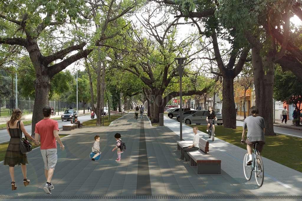 El proyecto de remodelación de la avenida Freyre fue presentado por el municipio en agosto de 2017. Ya tiene la aprobación del Concejo. La imagen digital muestra cómo quedaría el cantero central.  Crédito: Archivo El Litoral