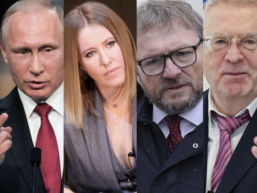 Algunos de los candidatos: Vladimir Putin, Ksenia Sobchak, Grigory Yavlinsky y Vladimir Zhirinovski. <strong>Foto:</strong> Internet