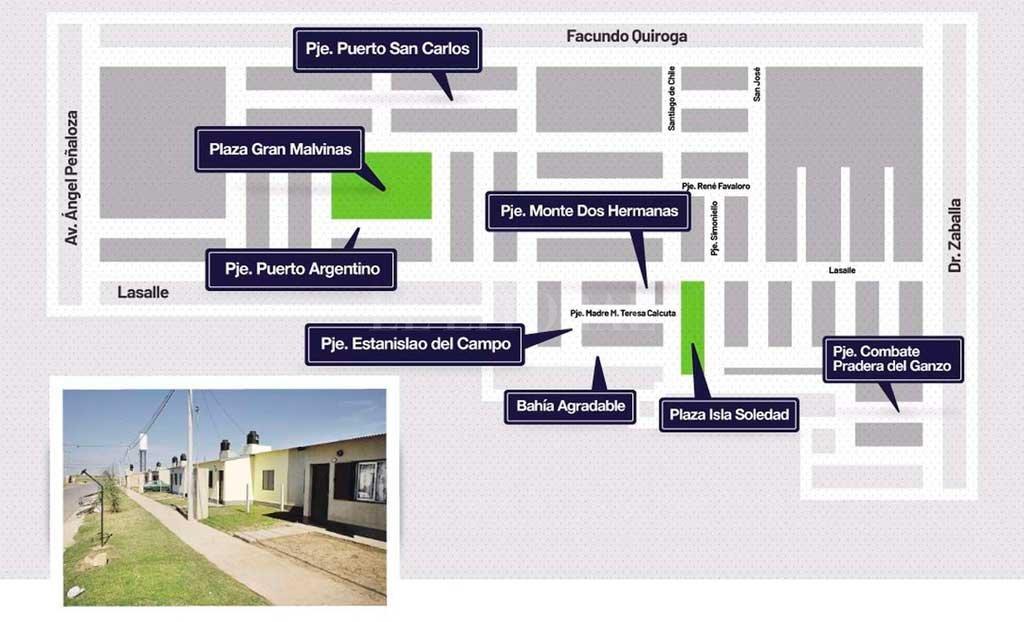 El mapa muestra el sector de René Favaloro donde los pasajes y paseos públicos ahora sí tendrán nombre. <strong>Foto:</strong> Gentileza concejal J. Cesoni