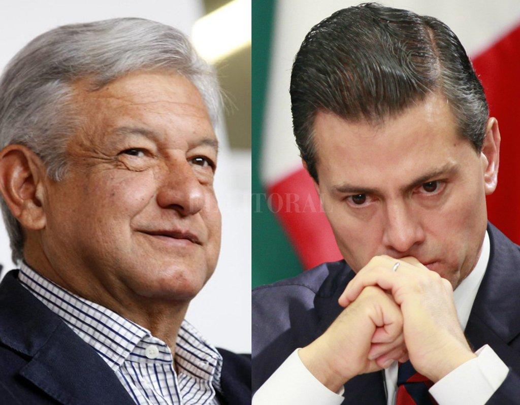 Andrés Manuel López Obrador, el candidato de la izquierda que encabeza las encuestas y el presidente mexicano Enrique Peña Nieto. <strong>Foto:</strong> Internet