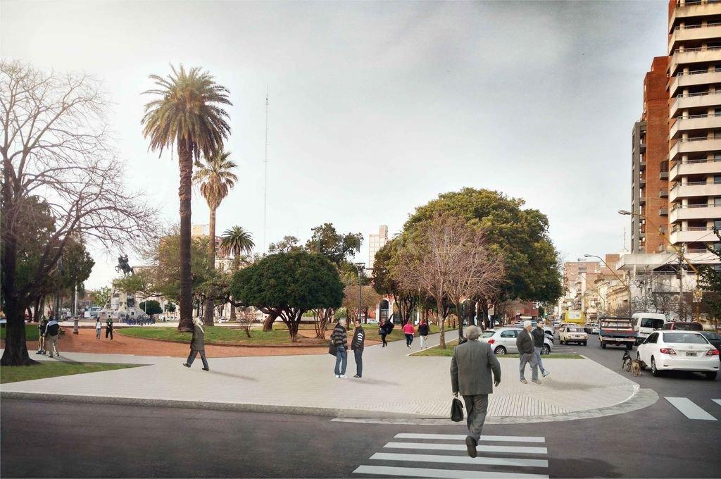 Vista. Esta imagen muestra cómo quedaría la emblemática plaza luego de la remodelación, que demandará 120 días. Crédito: Municipalidad de Santa Fe