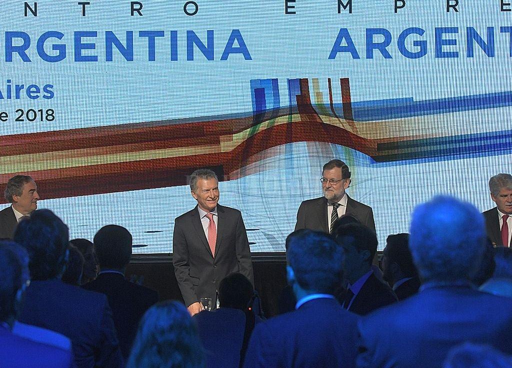 Mauricio Macri y Mariano Rajoy en el Encuentro de Empresarios este martes. Télam