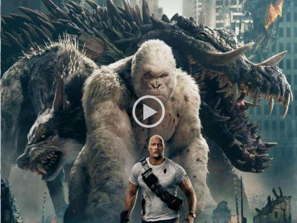 """""""The Rock"""" Johnson interpreta a un primatólogo cuyo gorila se convierte en una bestia temible, junto a otros animales. <strong>Foto:</strong>  Warner Bros. Pictures"""