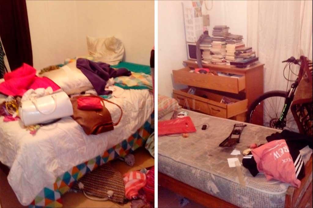 El desorden que dejó el malviviente en la casa de 4 de Enero y Matheu.  Crédito: Danilo Chiapello