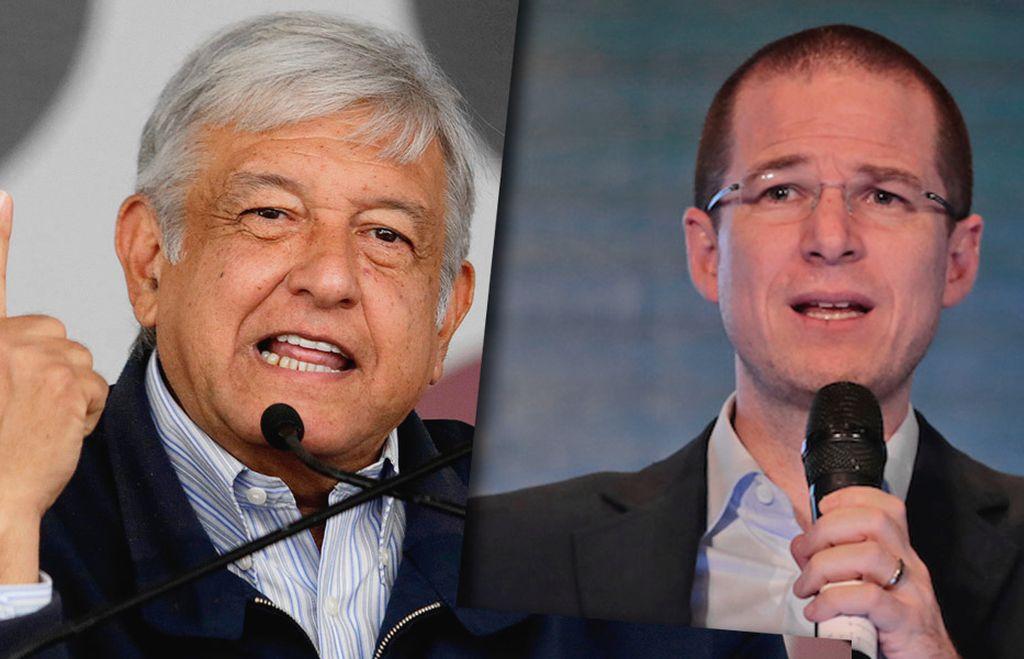 El candidato de izquierda Andrés Manuel López Obrador y el candidato conservador Ricardo Anaya. Crédito: El Popular