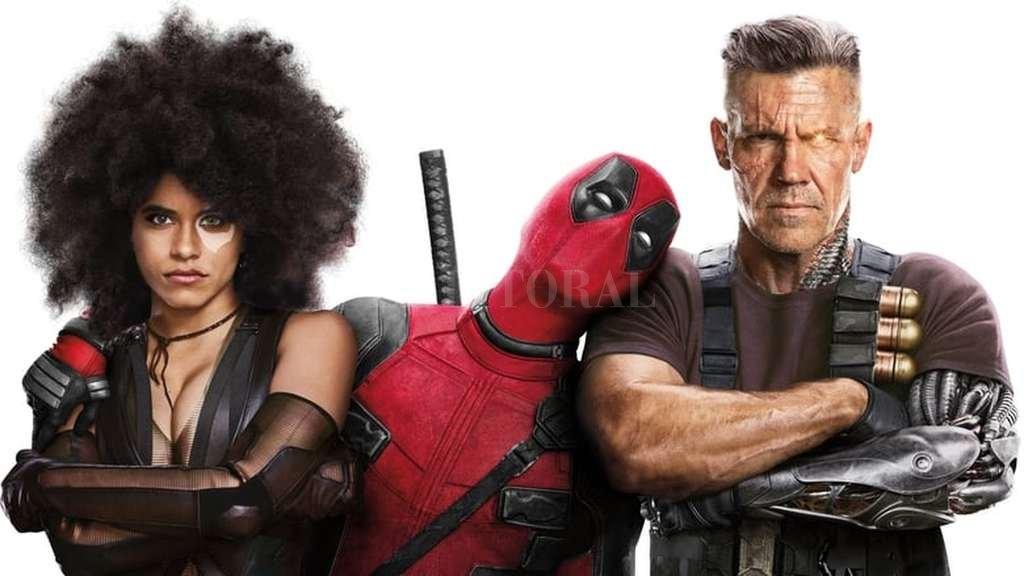 Deadpool (Ryan Reynolds), junto a la mercenaria mutante Domino (Zazie Beetz) y el guerrero cibermutante Cable (Josh Brolin). <strong>Foto:</strong> Gentileza 20th Century Fox