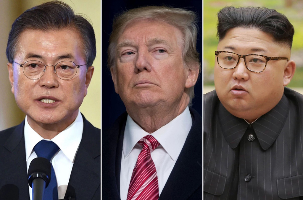 Moon Jae-in, Donald Trump y Kim Jong-un. Crédito: New York Post