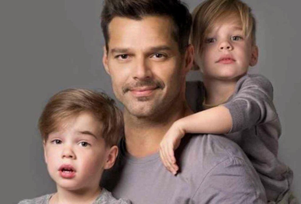 Ricky Martin junto a sus hijos. <strong>Foto:</strong> Internet