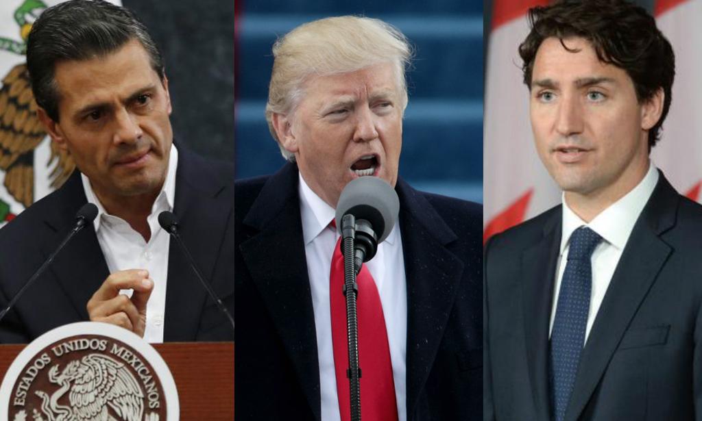Peña Nieto, Trump y Trudeau. <strong>Foto:</strong> Internet