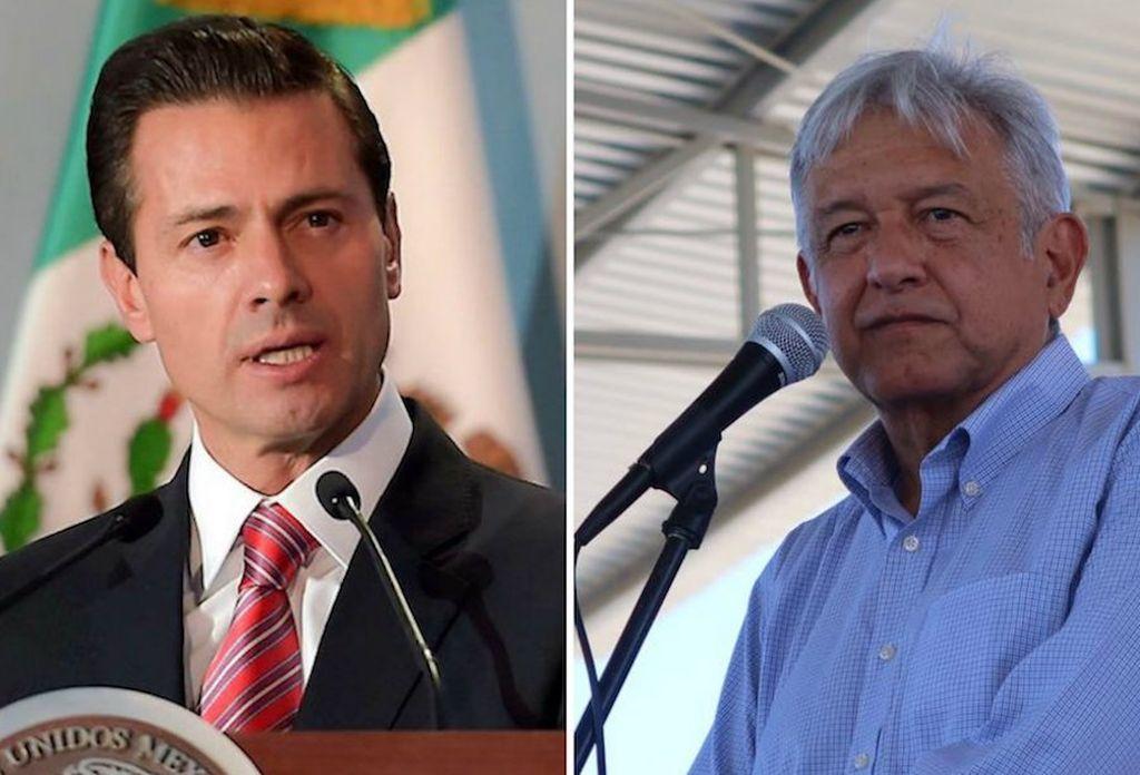 Enrique Peña Nieto, presidente de México y Andrés Manuel López Obrador, el candidato que podría sustituirlo. Crédito: Internet