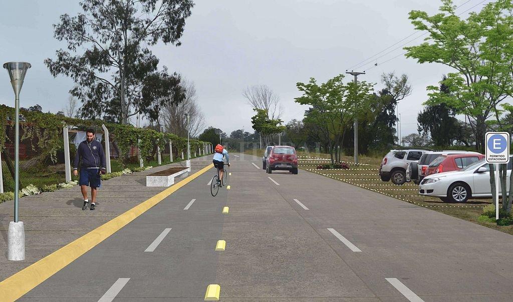 Un render de cómo quedaría el Paseo Deportivo del Sur: calles, bicisendas y áreas para el estacionamiento de vehículos. Crédito: Gentileza L. González