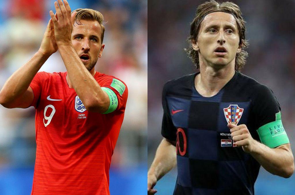 Figuras. Harry Kane (Inglaterra) y Luka Modric (Croacia), los jugadores que pueden desnivelar la balanza en una semifinal con apuestas abiertas. <strong>Foto:</strong> DPA