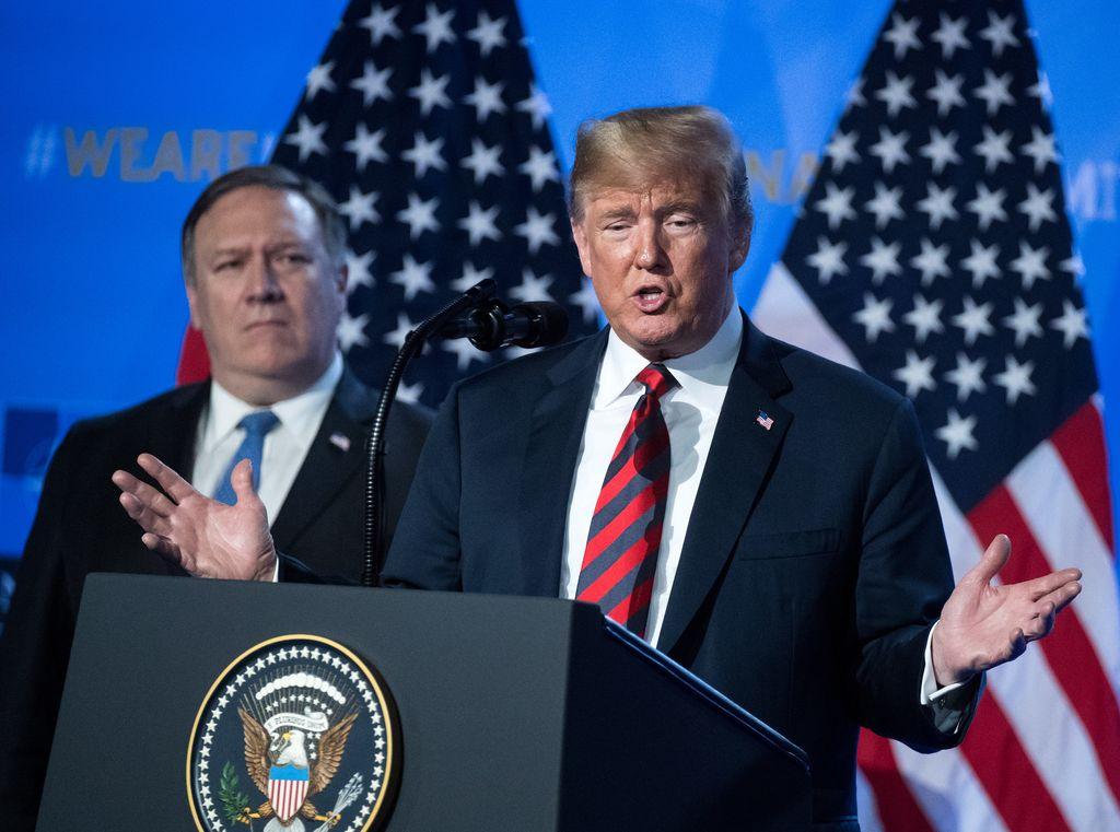 El presidente de Estados Unidos, Donald Trump, en rueda de prensa el 12/07/2018 en Bruselas, Bélgica, tras la cumbre de la OTAN. Crédito: dpa