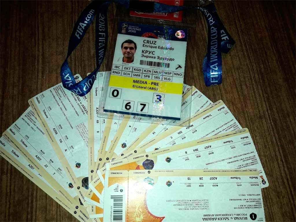 Credencial y entradas, un recuerdo imborrable del Mundial de Rusia  Crédito: El Litoral