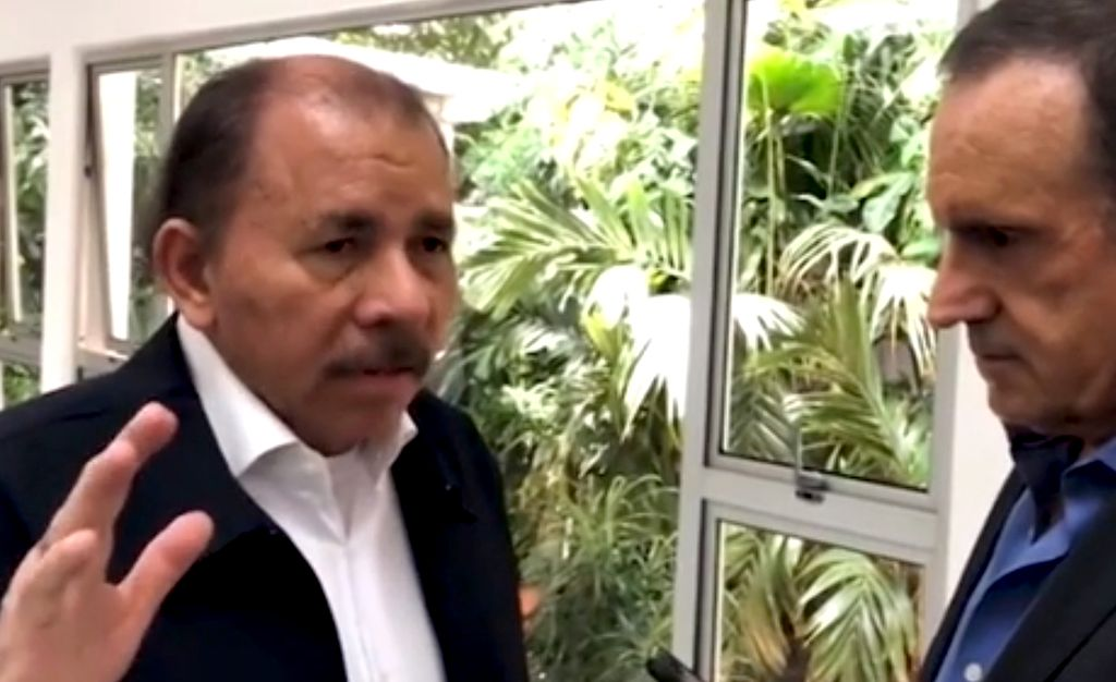 Ortega habló en una entrevista con CNN que se transmitirá el lunes 30 de julio. El video fue grabado en un celular de un empleado del gobierno de Nicaragua. Crédito: CNN