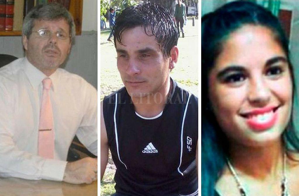 El juez Carlos Rossi, el femicida Sebastián Wagner, y la víctima Micaela García. <strong>Foto:</strong> Archivo