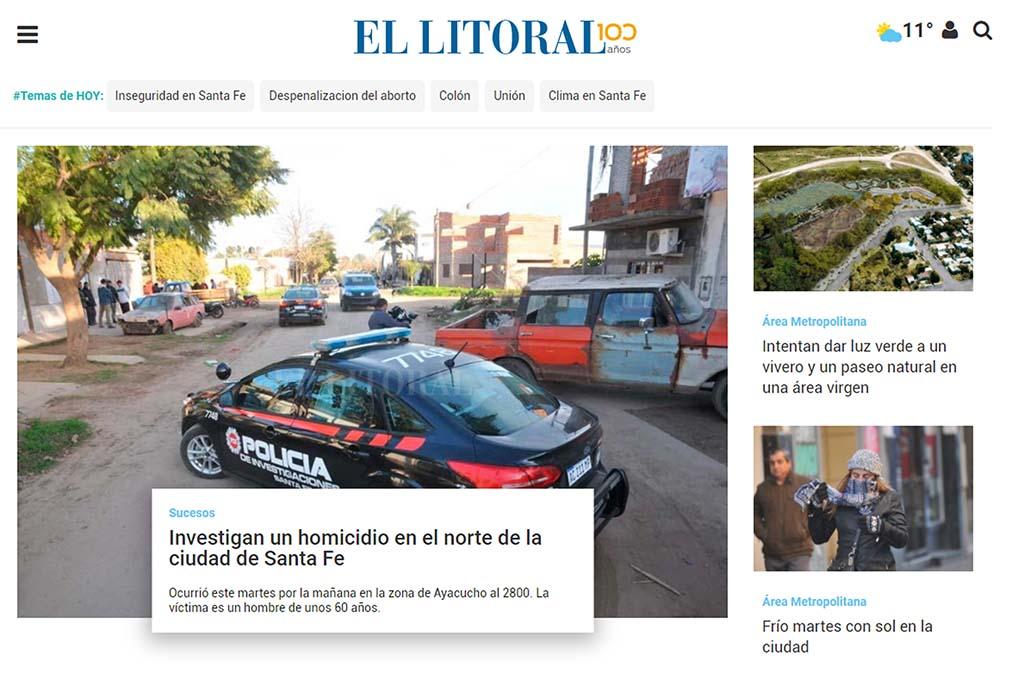 Nuevas aperturas, tipografía más clara y diseño mas limpio, algunos de los cambios del sitio de El Litoral. <strong>Foto:</strong> Captura digital.