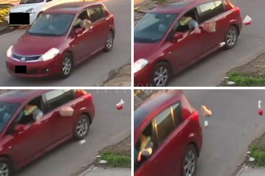 Las imágenes muestran al conductor de un auto que arroja los desperdicios en plena calle. Crédito: Periodismo Ciudadano