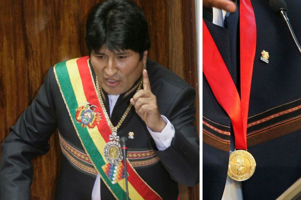 La medalla presidencial data desde la fundación de Bolivia y fue usada en 1825 por el Libertador Simón Bolívar, mientras que la banda fue confeccionada para el presidente Evo Morales. Crédito: Internet