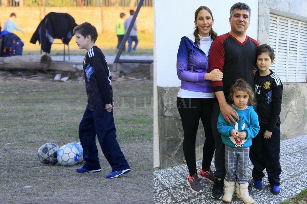 Nahuel en plena práctica. El fútbol, un aliado para su rehabilitación y la familia, otro pilar. Verónica, Carlos, Morena y Nahuel.  Crédito: Marcelo Miño