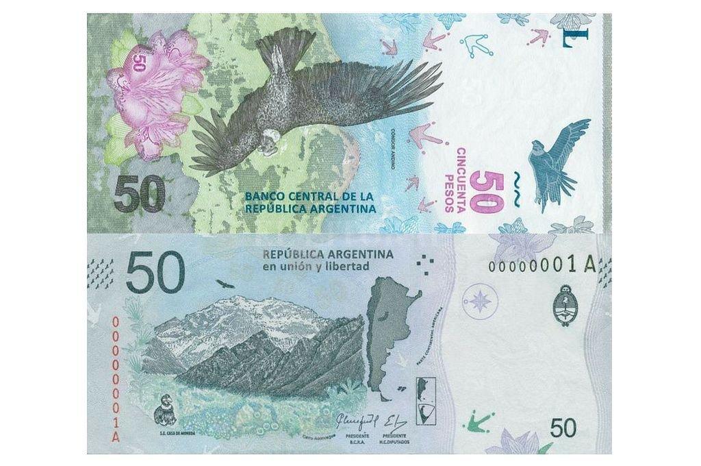 Nuevo billete de 50 pesos. Crédito: BCRA