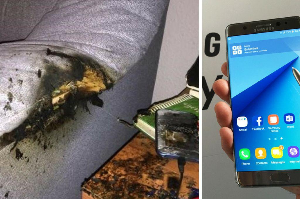 La imagen del sillón y el celular que explotó en España (izq.). El celular Samsung Note 7, el dolor de cabeza para la compañía (der.). Crédito: Internet