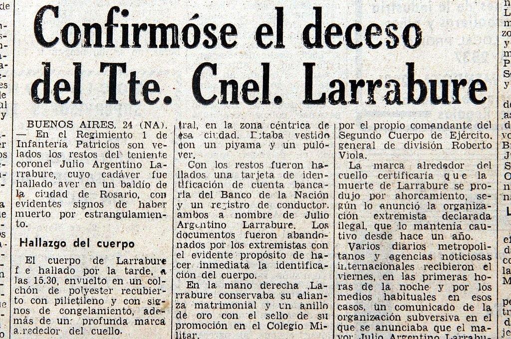 El 24 de agosto de 1975 los medios confirmaban el hallazgo sin vida del militar, secuestrado un año antes en la provincia de Córdoba. <strong>Foto:</strong> Archivo El Litoral