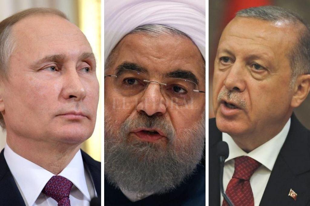 Vladimir Putin, presidente de Rusia, Hasán Rohaní, presidente de Irán y Recep Tayyip Erdoaan, presidente de Turquía. Crédito: Internet