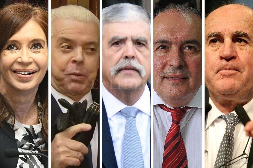 Cristina Fernández, Norberto Oyarbide, Julio De Vido, José López y Oscar Parrilli, algunos de los procesados en la causa. Crédito: El Litoral