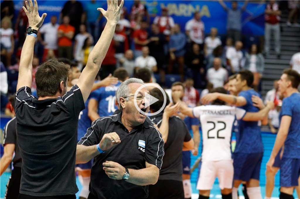 Video: el alocado festejo de Velasco tras el triunfo de Argentina ante Polonia
