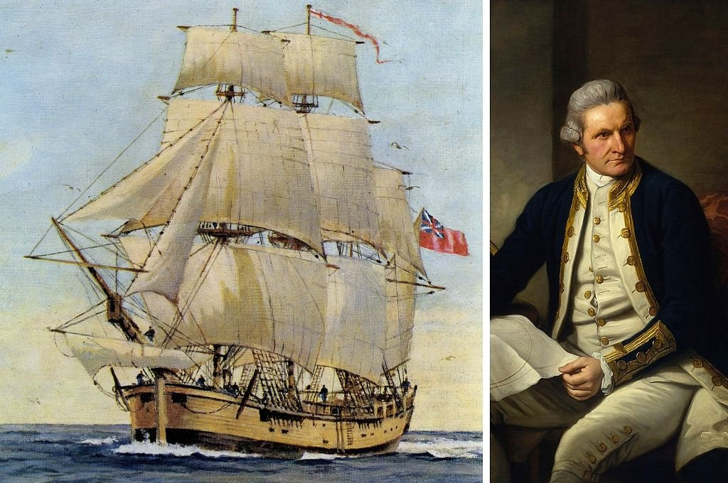 El Endeavour y James Cook. <strong>Foto:</strong> Wikipedia